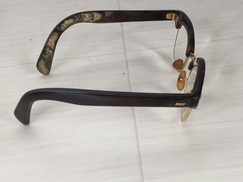 60s 鼈甲 べっ甲 べっこう メガネ 眼鏡 めがね 眼鏡フレーム 金 k18 18金 ゴールド 茶 総重量 約44g_画像3