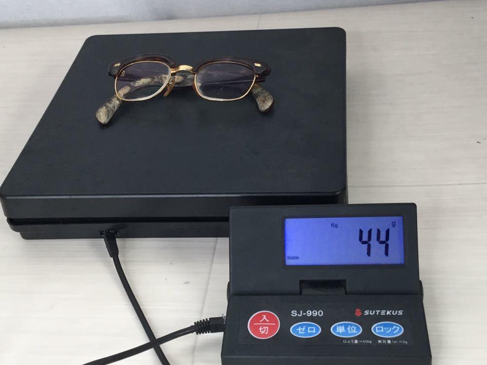 60s 鼈甲 べっ甲 べっこう メガネ 眼鏡 めがね 眼鏡フレーム 金 k18 18金 ゴールド 茶 総重量 約44g_画像10