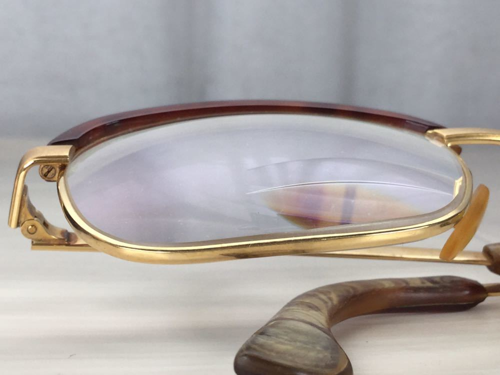 60s 鼈甲 べっ甲 べっこう メガネ 眼鏡 めがね 眼鏡フレーム 金 k18 18金 ゴールド 茶 56 総重量 約54g_画像8