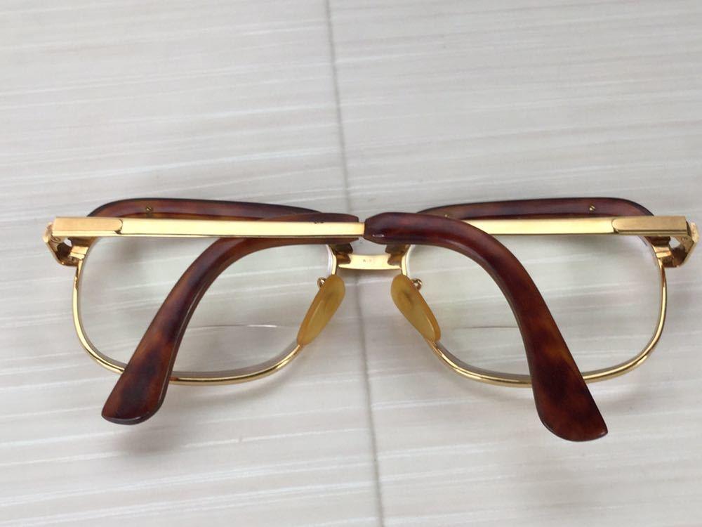 60s 鼈甲 べっ甲 べっこう メガネ 眼鏡 めがね 眼鏡フレーム 金 k18 18金 ゴールド 茶 56 総重量 約54g_画像3