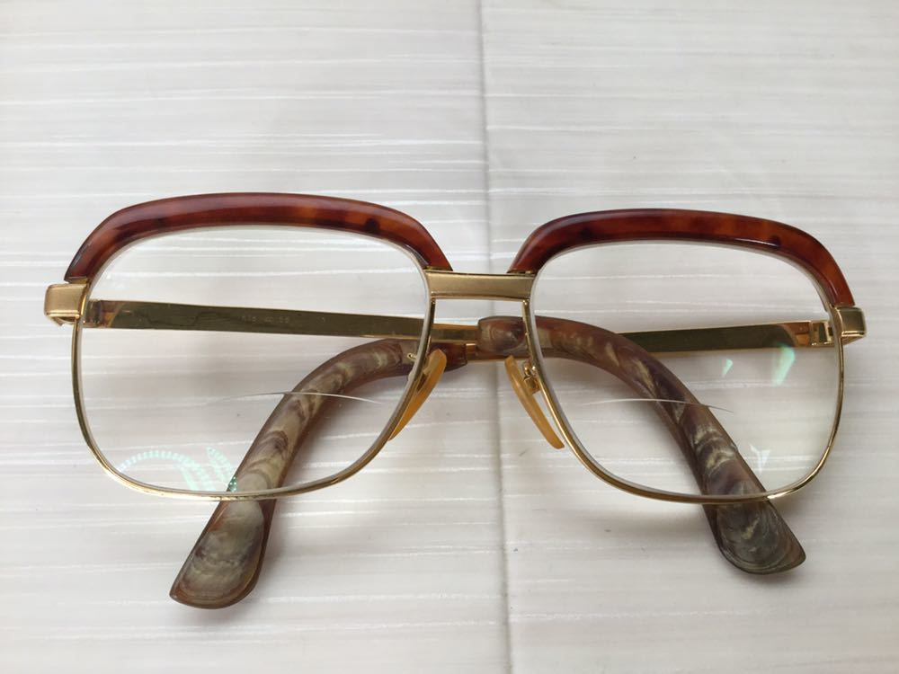 60s 鼈甲 べっ甲 べっこう メガネ 眼鏡 めがね 眼鏡フレーム 金 k18 18金 ゴールド 茶 56 総重量 約54g