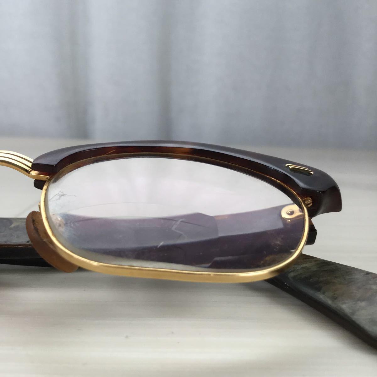 60s 鼈甲 べっ甲 べっこう メガネ 眼鏡 めがね 眼鏡フレーム 金 k18 18金 ゴールド 茶 総重量 約44g_画像9