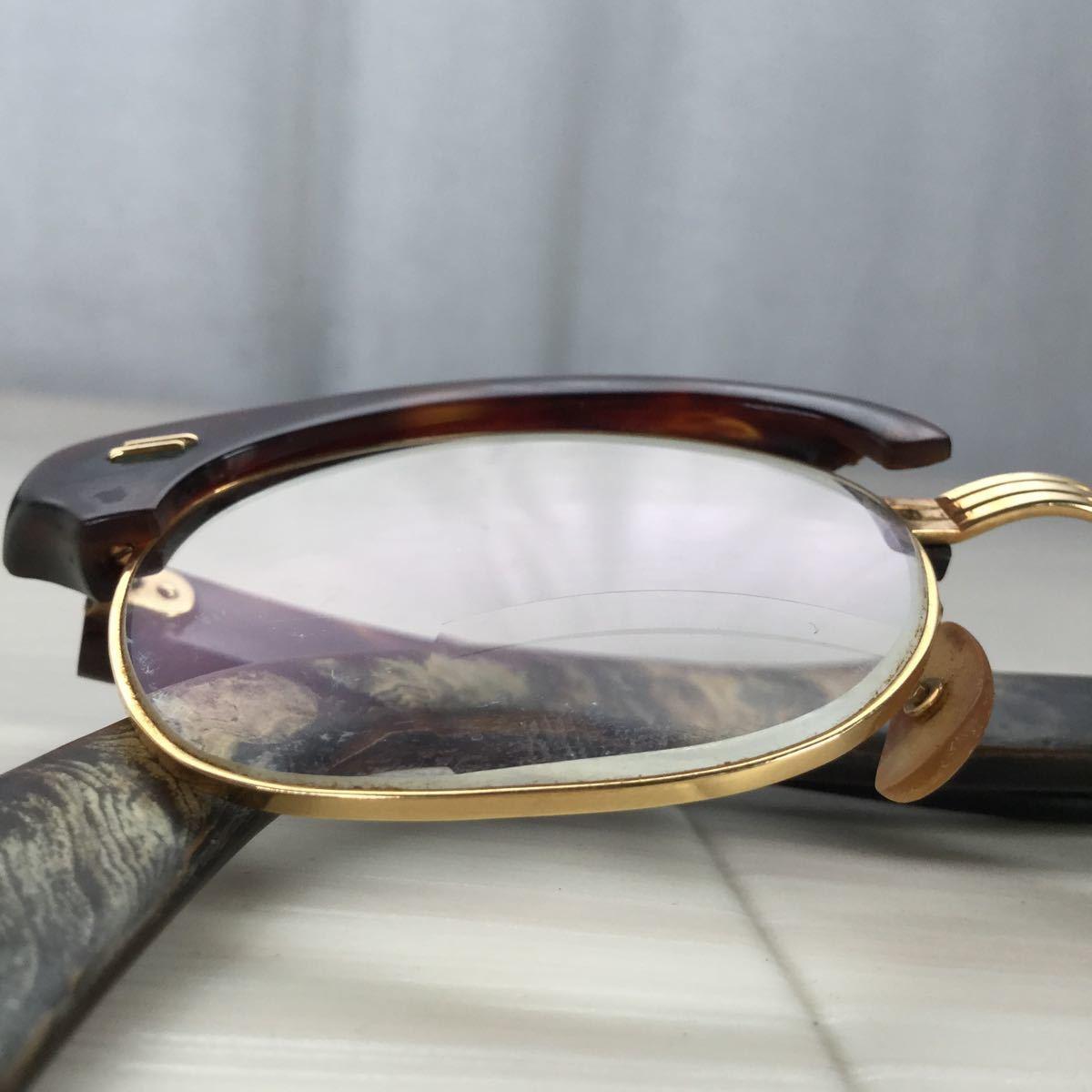 60s 鼈甲 べっ甲 べっこう メガネ 眼鏡 めがね 眼鏡フレーム 金 k18 18金 ゴールド 茶 総重量 約44g_画像8