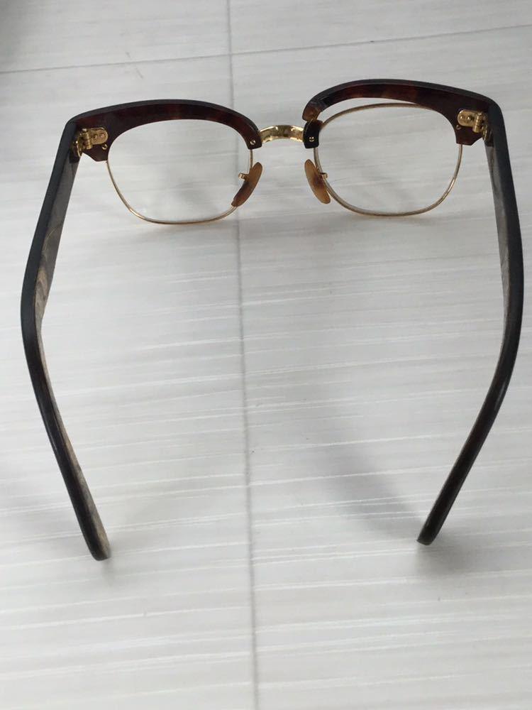 60s 鼈甲 べっ甲 べっこう メガネ 眼鏡 めがね 眼鏡フレーム 金 k18 18金 ゴールド 茶 総重量 約44g_画像2