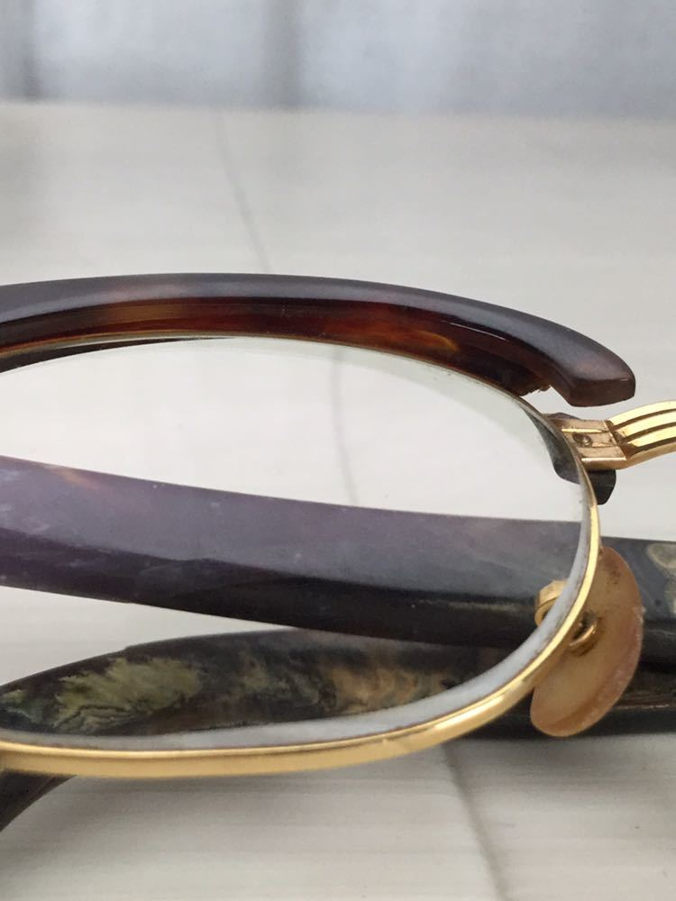 60s 鼈甲 べっ甲 べっこう メガネ 眼鏡 めがね 眼鏡フレーム 金 k18 18金 ゴールド 茶 総重量 約44g_画像7