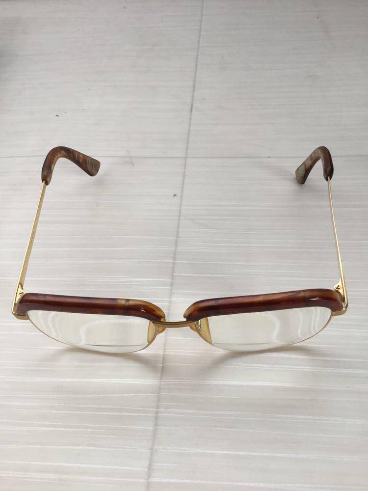 60s 鼈甲 べっ甲 べっこう メガネ 眼鏡 めがね 眼鏡フレーム 金 k18 18金 ゴールド 茶 56 総重量 約54g_画像2