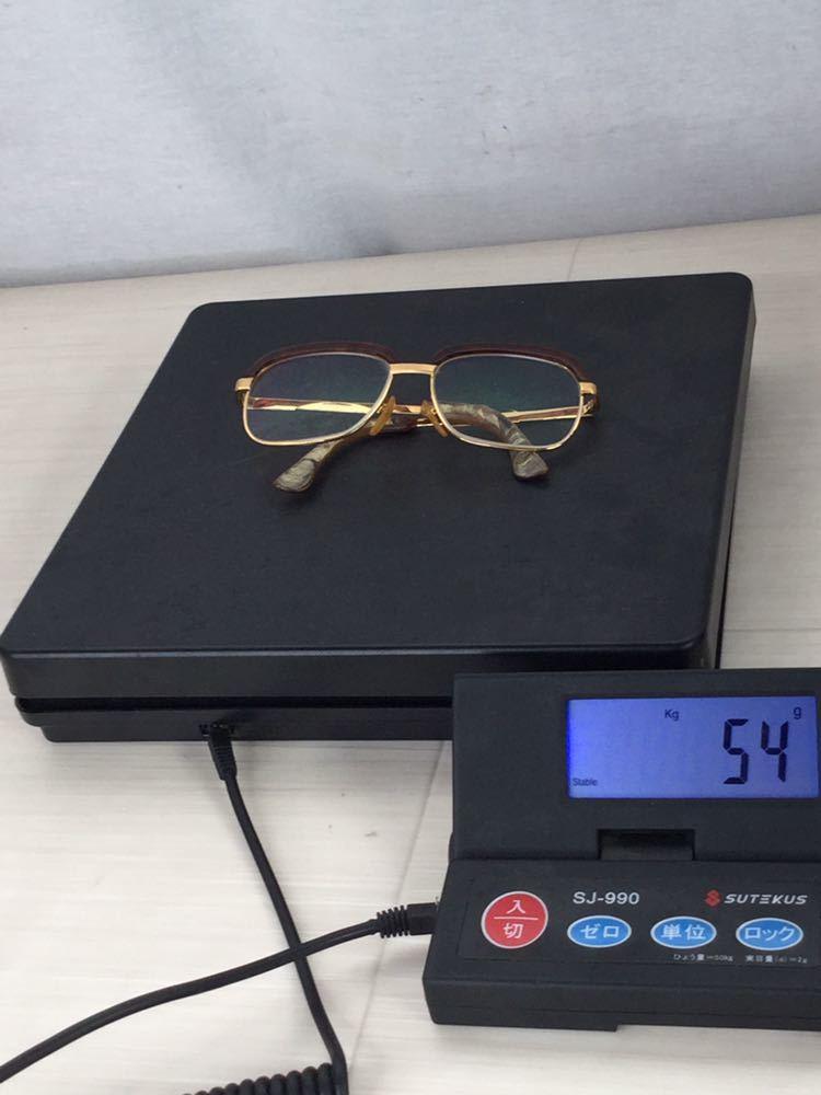60s 鼈甲 べっ甲 べっこう メガネ 眼鏡 めがね 眼鏡フレーム 金 k18 18金 ゴールド 茶 56 総重量 約54g_画像10