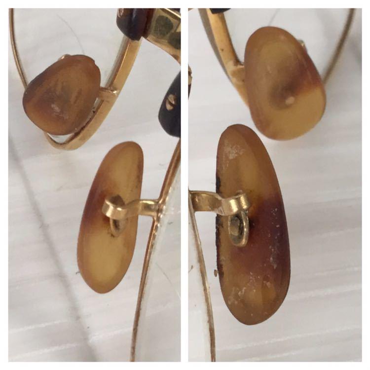 60s 鼈甲 べっ甲 べっこう メガネ 眼鏡 めがね 眼鏡フレーム 金 k18 18金 ゴールド 茶 総重量 約44g_画像5