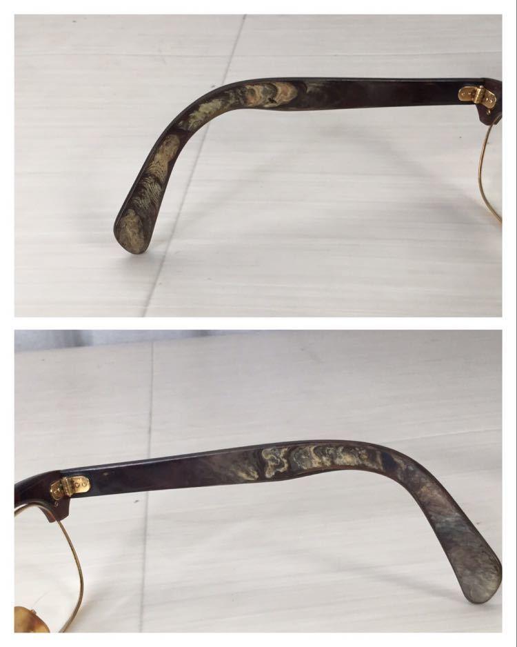 60s 鼈甲 べっ甲 べっこう メガネ 眼鏡 めがね 眼鏡フレーム 金 k18 18金 ゴールド 茶 総重量 約44g_画像4