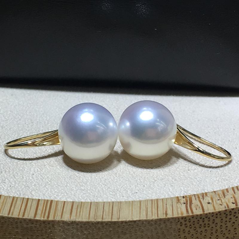 K18 白蝶 真珠 12.2mm ピアス K18YG イエローゴールド パール 南洋真珠 フックピアス シンプル 一粒 天然_画像2