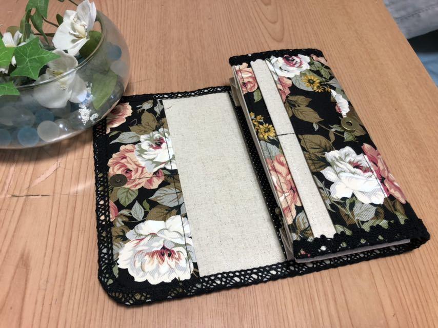 ハンドメイド☆長財布・通帳入 アンティークローズ_画像3