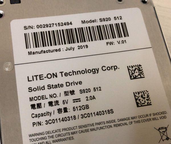 ★LITE-ON★S920★新品バルク★2.5インチSATA SSD 512GB★読み出し520MB/s★書き込み480MB/s★_画像3