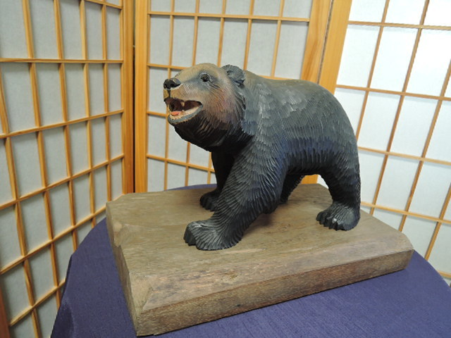 木彫 熊 北雪 八雲 くま 茂木多喜治「北雲之作」ガラス目 台付 北海道