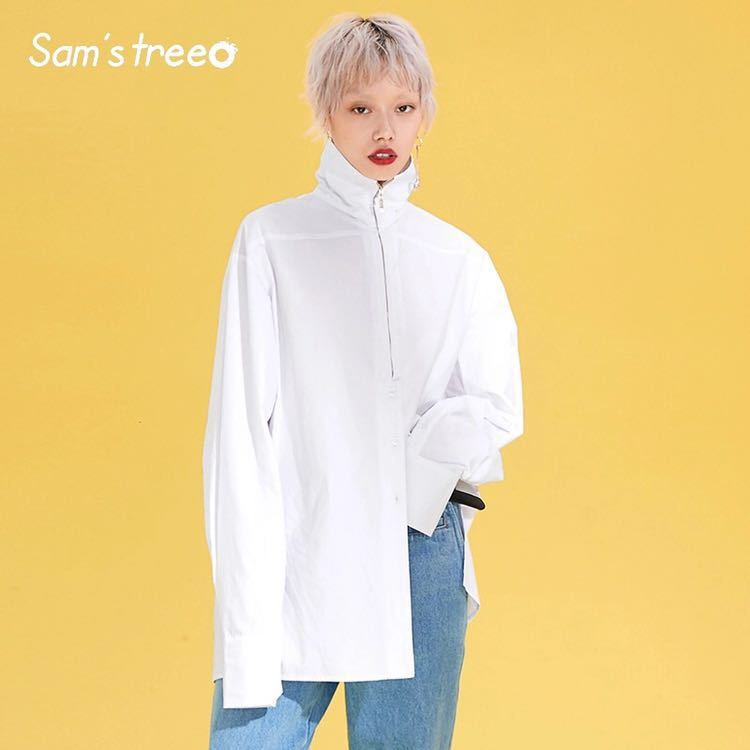 女性特大白ブラウス Normcore ジッパータートルネックシャツ女性のミニマリストささやかなハイストリート綿 BL ブラウス