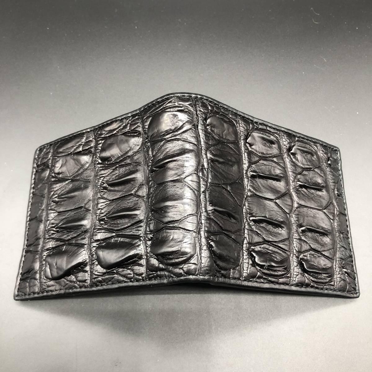 ■新品■ ◆ハンドメイド◆ 二つ折り財布 クロコダイル(背部分使用 )★海外工房店制作★ Ⅱ_画像5