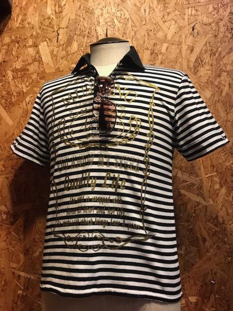 メンズシャツ MK MICHEL KLEIN HOMME ミッシェルクラン オム ポロ 半袖 ボーダー 柄 プリント FA353LPL / L レターパックライト発送可_画像2