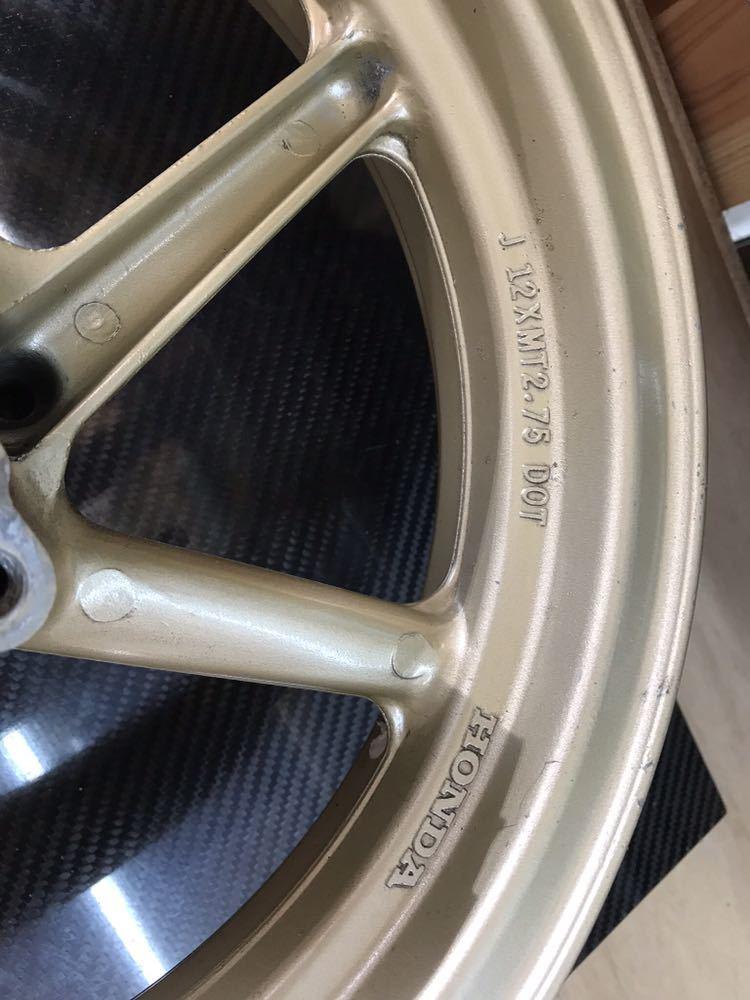 ホンダ HONDA NSR50NSR80 APE エイプ XRモタード用純正リアホイール 6本スポーク 中古 ゴールド_画像3