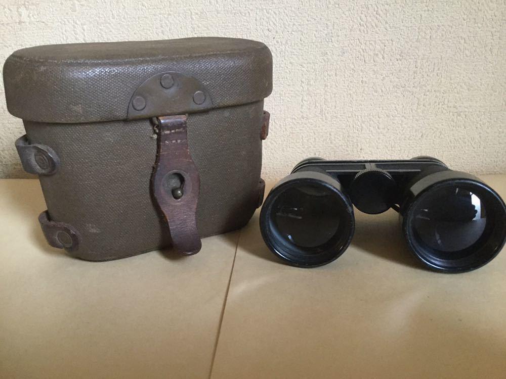 旧日本軍の配給品の双眼鏡?ケースに昭17△?マークあります。検軍服日本陸軍カメラレンズ軍刀