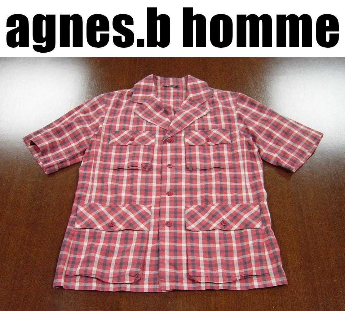 agnes.b homme アニエスベーオム半袖ジャケット/agnis.b/チェック柄/サイズ40_画像1