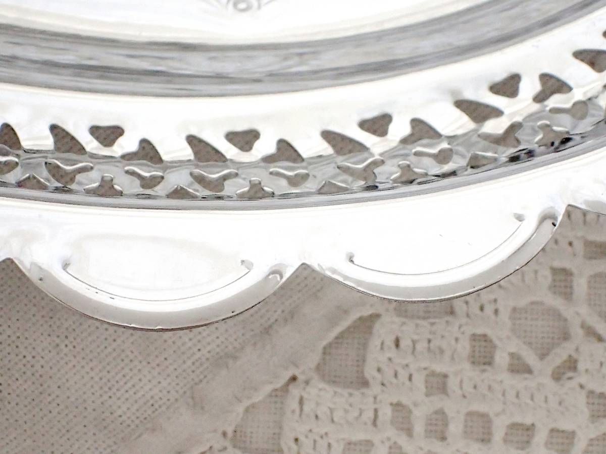 Celtic Quality Plate 英国アンティーク 純銀P シルバー ヴィクトリアン ハンドル付き デザート サンドイッチ プレート イギリス製_画像6