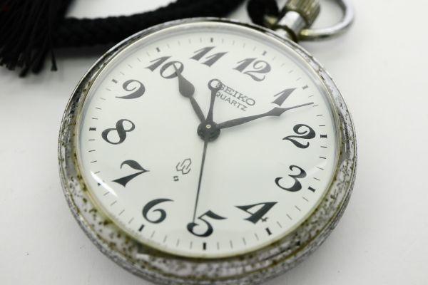 1円 SEIKO/セイコー 7550-0010 QZ 動作品 懐中時計 G8018 (MM 44)