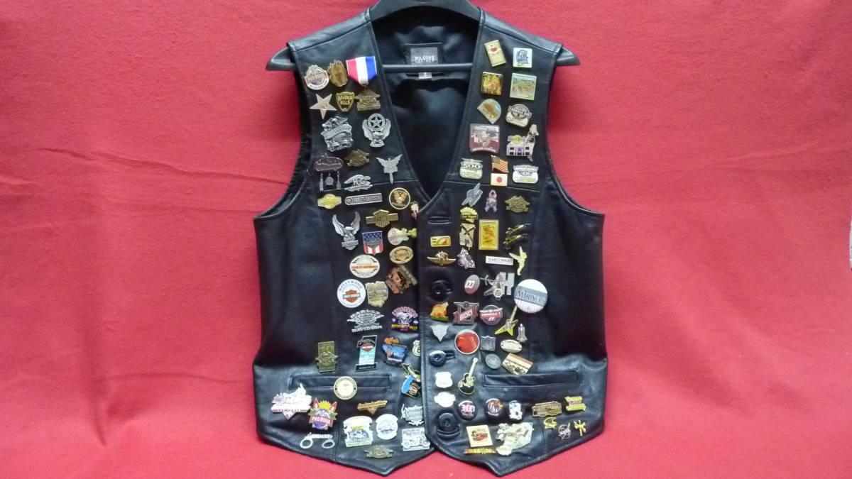 貴重 レア Harley Davidsonオリジナル アメリカ観光地 アメリカチーム 現地収集ピンバッジ 中古ベスト 管理番号A1289_画像1