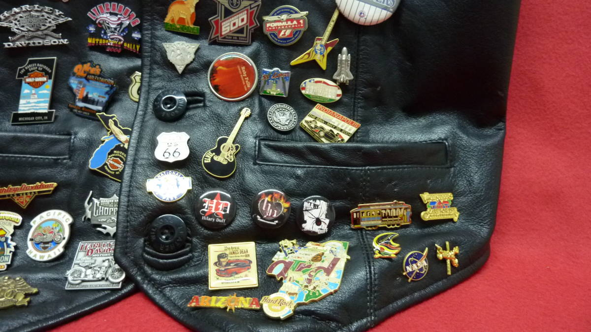 貴重 レア Harley Davidsonオリジナル アメリカ観光地 アメリカチーム 現地収集ピンバッジ 中古ベスト 管理番号A1289_画像6