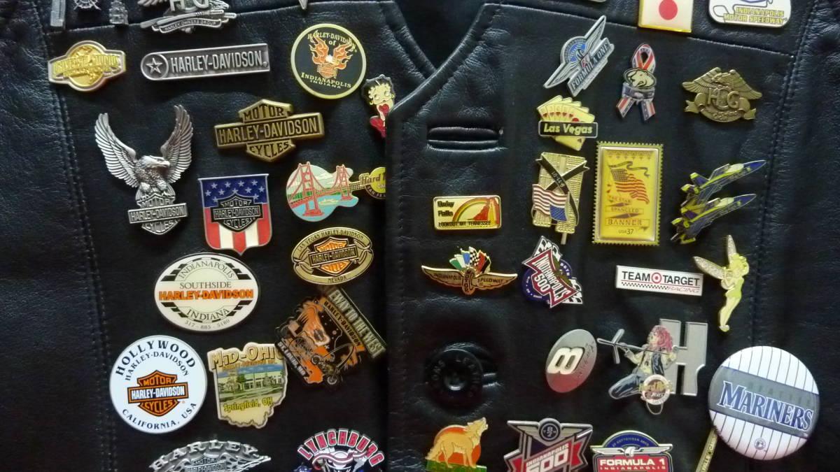 貴重 レア Harley Davidsonオリジナル アメリカ観光地 アメリカチーム 現地収集ピンバッジ 中古ベスト 管理番号A1289_画像4