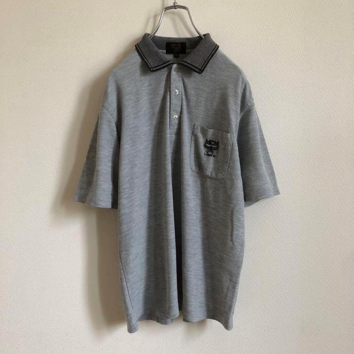RR424【レトロ】MCM エムシーエム ワンポイント ポロシャツ_画像1