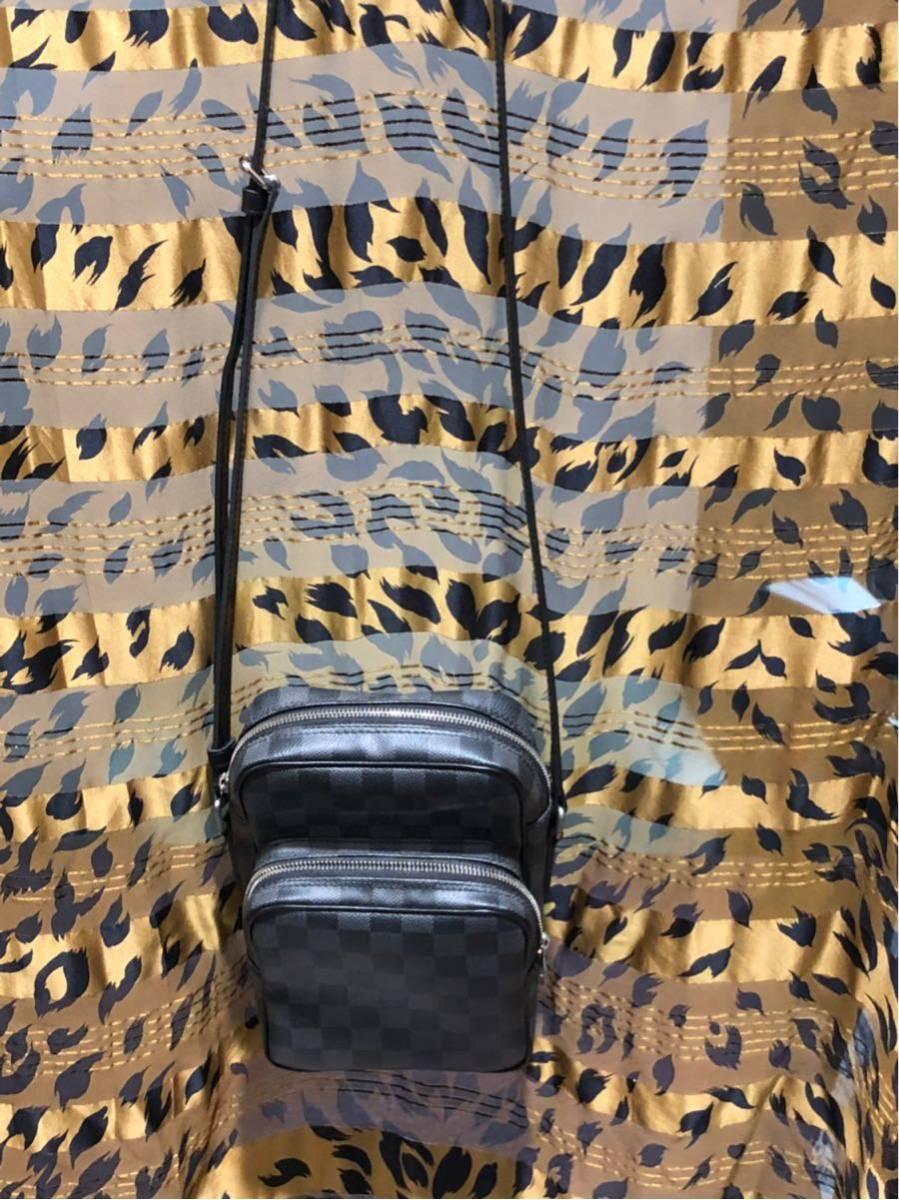 1円 美品 Louis Vuitton ルイヴィトン アマゾン ダミエグラフィット ショルダーバッグ 斜めがけ可能_画像3