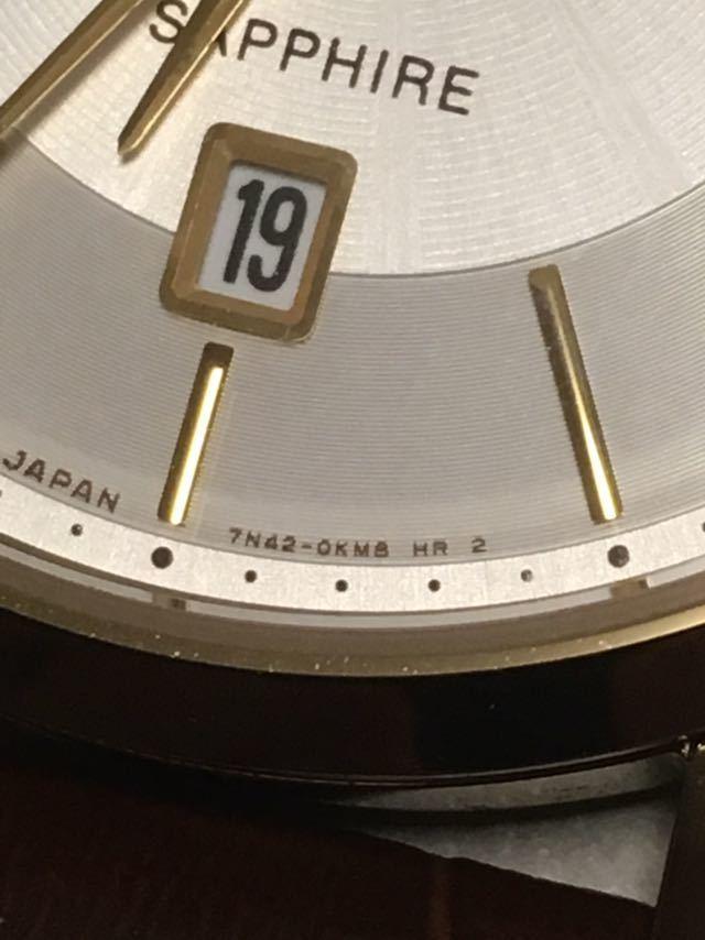 超美品 SEIKO SAPPHIRE 7N42-0GG0 サファイアガラス メンズ ゴールド 試着程度ほぼ未使用 電池切れ_画像5