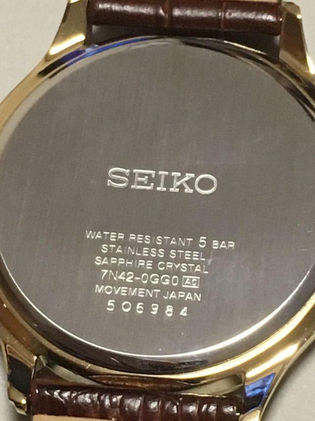 超美品 SEIKO SAPPHIRE 7N42-0GG0 サファイアガラス メンズ ゴールド 試着程度ほぼ未使用 電池切れ_画像6