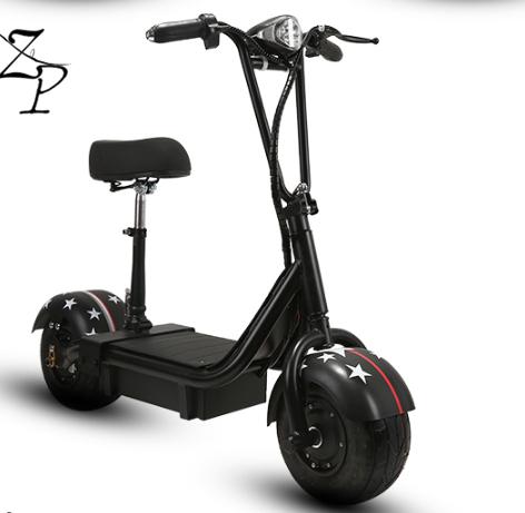 「注目デザイン!衝撃吸収 48V ミニ電動スクーカー スクーター アシストバイク 電動車 衝撃吸収 折り畳み モペット ブラックhh040」の画像1