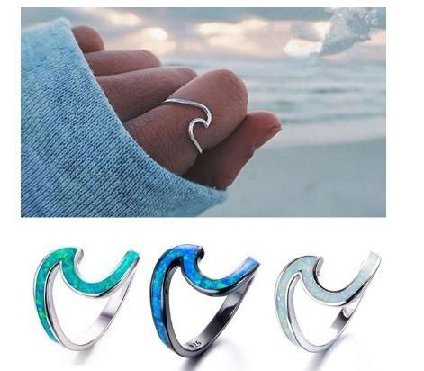H1750 1PC 925スターリング シルバーシンプル 高級薄い波のリング ビーチシーサーファー島 ジュエリー_画像1