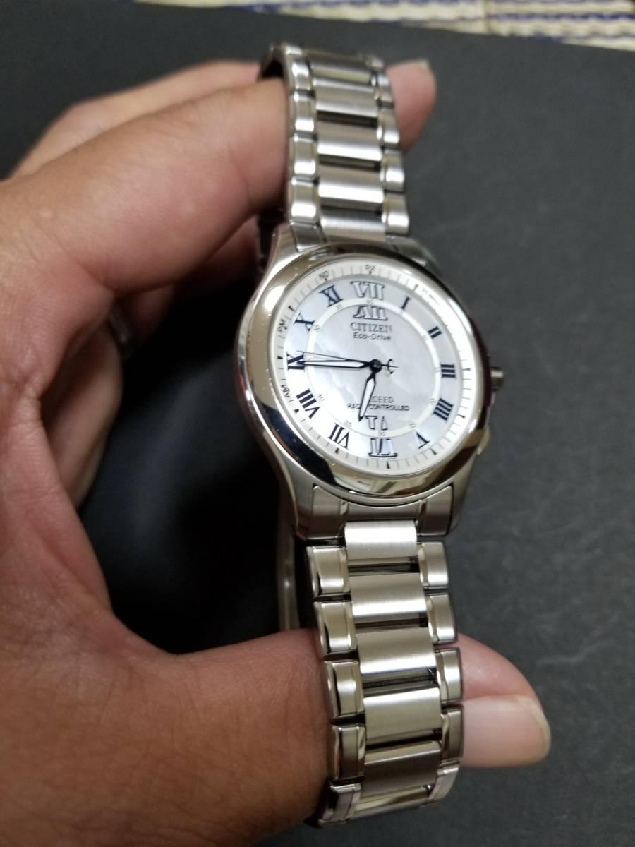 シチズン エクシード H430-T005675 電波ソーラー 腕時計 エコドライブ シェル文字盤 美品_画像4