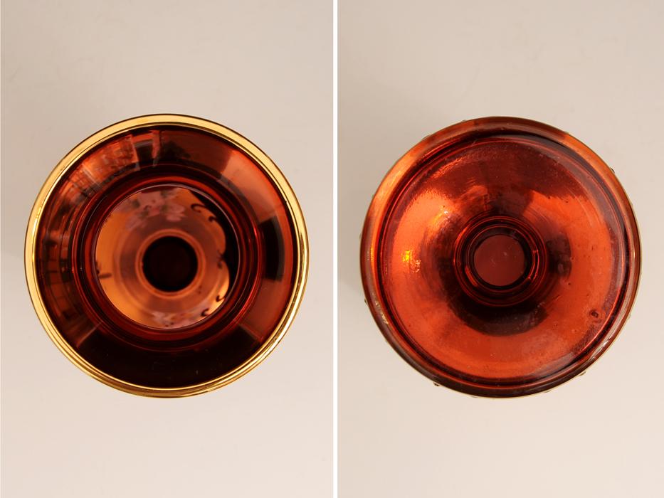 ボヘミア ガラス Bohemian Glass チェコスロバキア ハイエナメル 花文 フラワーベース 花瓶 高さ:21㎝ 西洋美術 現代工芸 b5905o_画像4