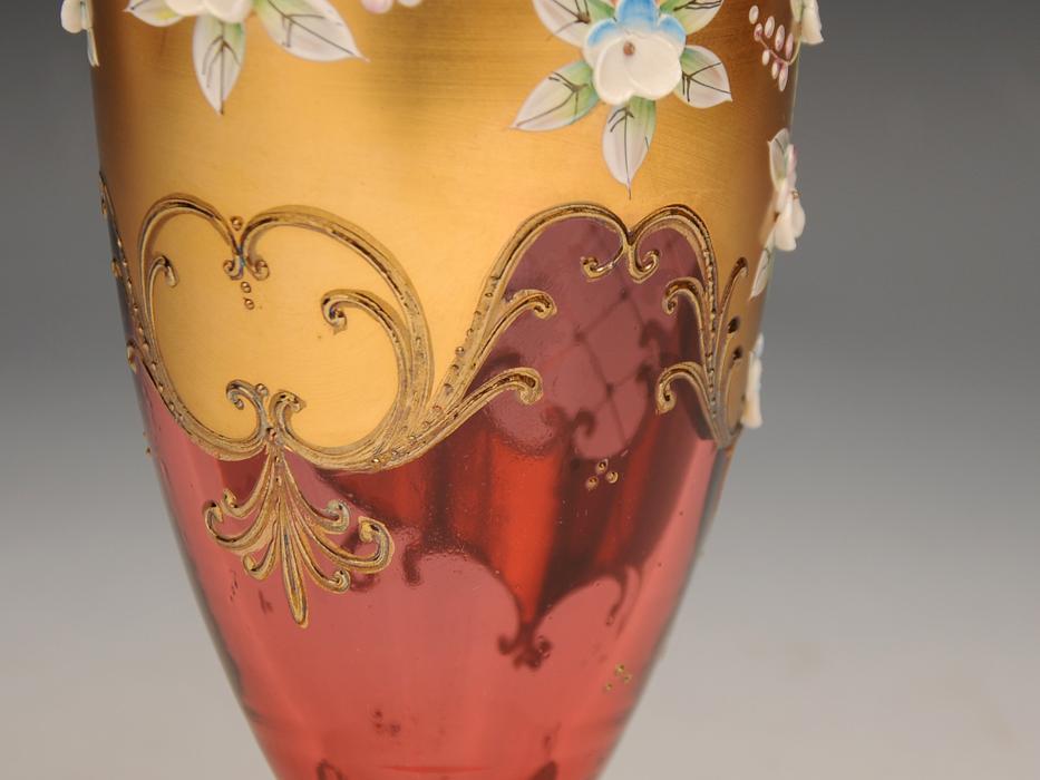 ボヘミア ガラス Bohemian Glass チェコスロバキア ハイエナメル 花文 フラワーベース 花瓶 高さ:21㎝ 西洋美術 現代工芸 b5905o_画像8