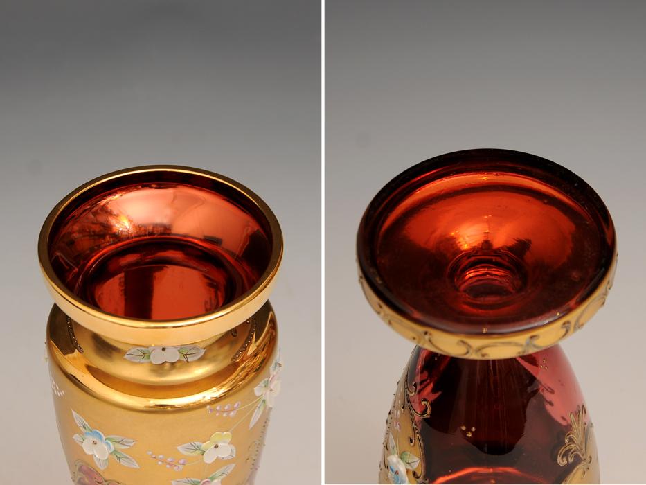 ボヘミア ガラス Bohemian Glass チェコスロバキア ハイエナメル 花文 フラワーベース 花瓶 高さ:21㎝ 西洋美術 現代工芸 b5905o_画像3