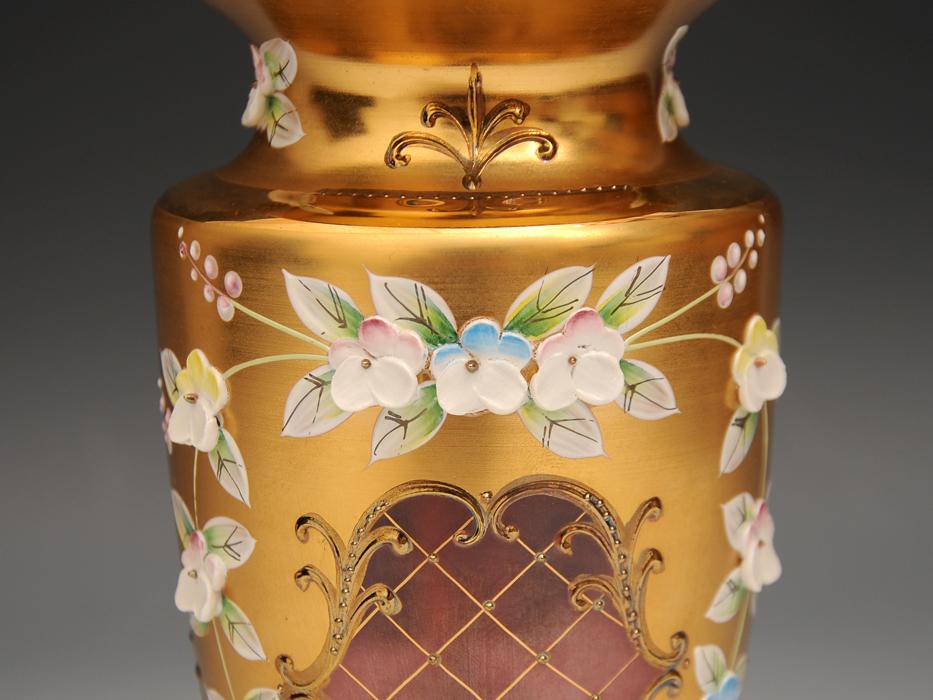 ボヘミア ガラス Bohemian Glass チェコスロバキア ハイエナメル 花文 フラワーベース 花瓶 高さ:21㎝ 西洋美術 現代工芸 b5905o_画像6