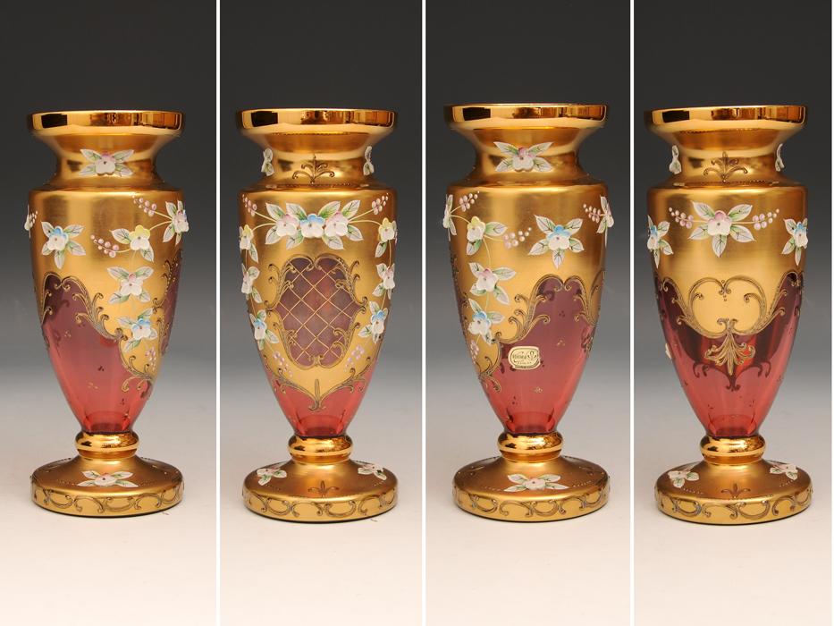 ボヘミア ガラス Bohemian Glass チェコスロバキア ハイエナメル 花文 フラワーベース 花瓶 高さ:21㎝ 西洋美術 現代工芸 b5905o_画像2