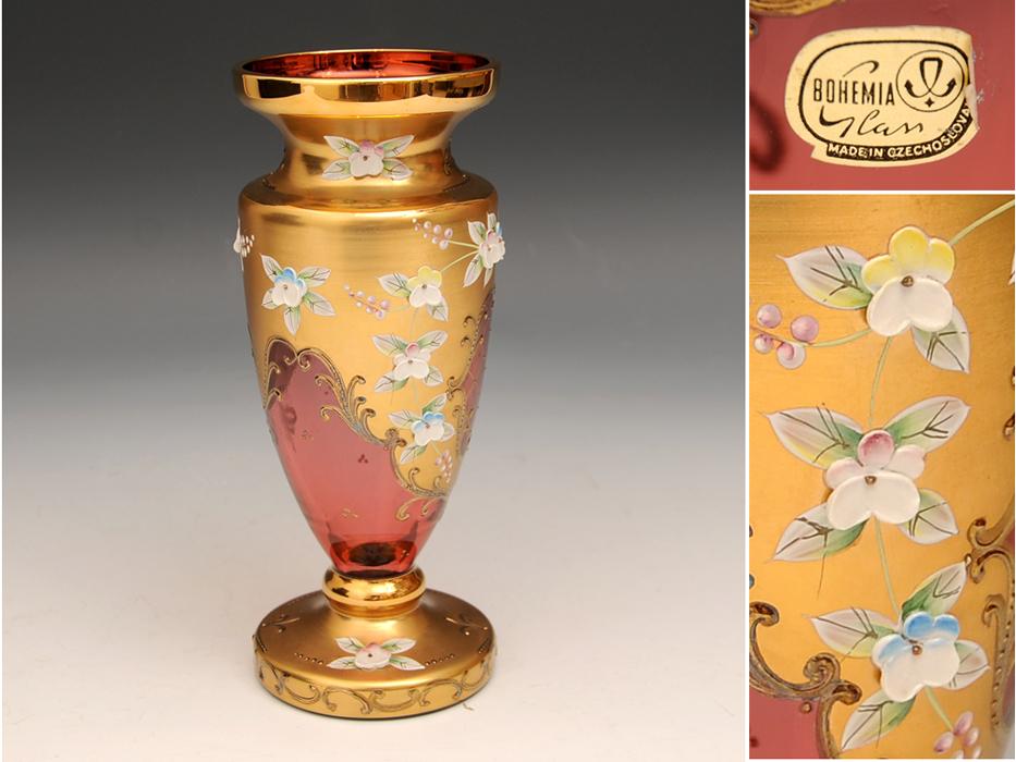 ボヘミア ガラス Bohemian Glass チェコスロバキア ハイエナメル 花文 フラワーベース 花瓶 高さ:21㎝ 西洋美術 現代工芸 b5905o_画像1