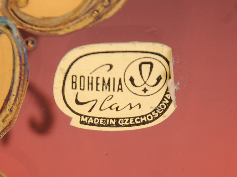 ボヘミア ガラス Bohemian Glass チェコスロバキア ハイエナメル 花文 フラワーベース 花瓶 高さ:21㎝ 西洋美術 現代工芸 b5905o_画像9