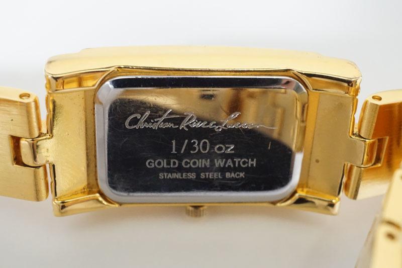 K937◇クリスチャン リース ラッセン GOLD COIN WATCH コインウォッチ 腕時計 999.9GOLD 1/30 OZ Christian Riese Lassen 金貨_画像3
