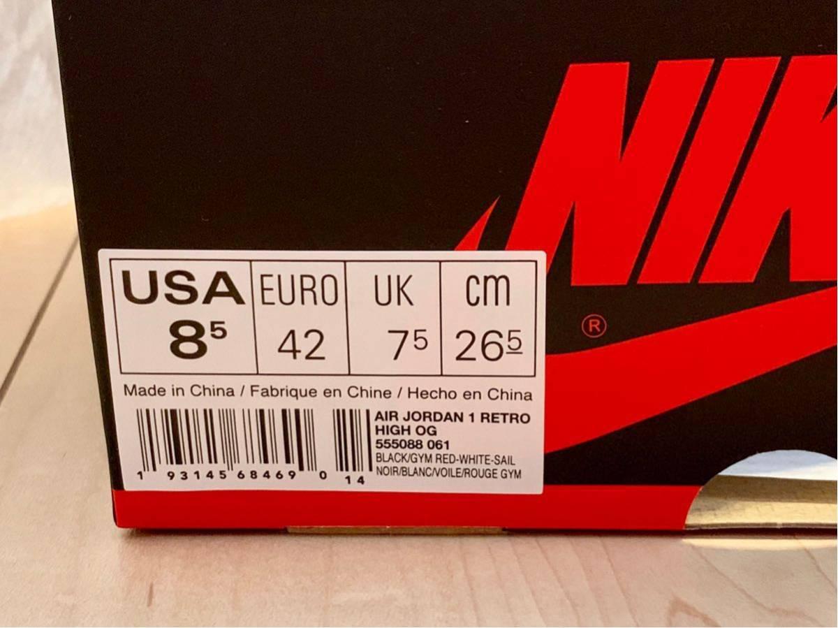 ナイキ NIKE エア ジョーダン 1 AIR JORDAN 1レトロ HIGH OG ブラック/ホワイト/セイル/ジムレッド US8.5 26.5cm_画像7