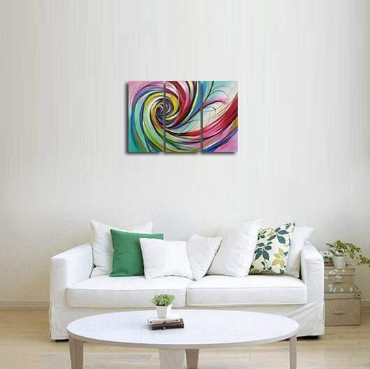 アートパネル 『渦Ⅲ/カラフル・スパイラル』 30x60cm x 3枚組 手描き_画像4