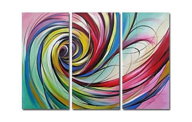 アートパネル 『渦Ⅲ/カラフル・スパイラル』 30x60cm x 3枚組 手描き_画像1