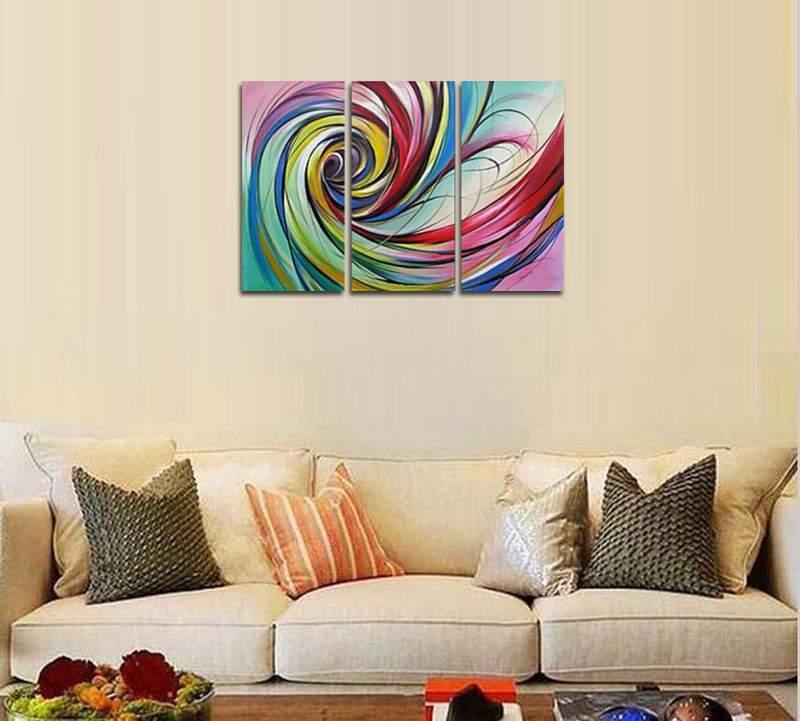 アートパネル 『渦Ⅲ/カラフル・スパイラル』 30x60cm x 3枚組 手描き_画像2