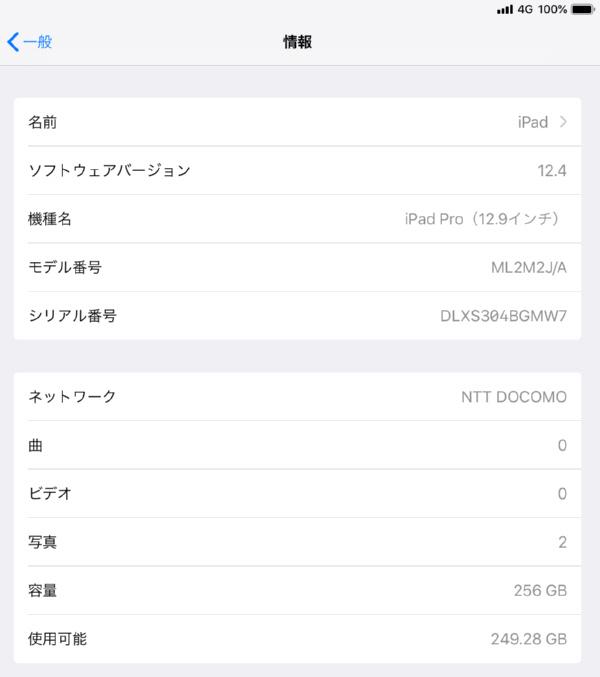 docomo ドコモ iPad Pro 12.9インチ Wi-Fi Cellular 256GB シルバー ML2M2J/A 判定〇_画像8