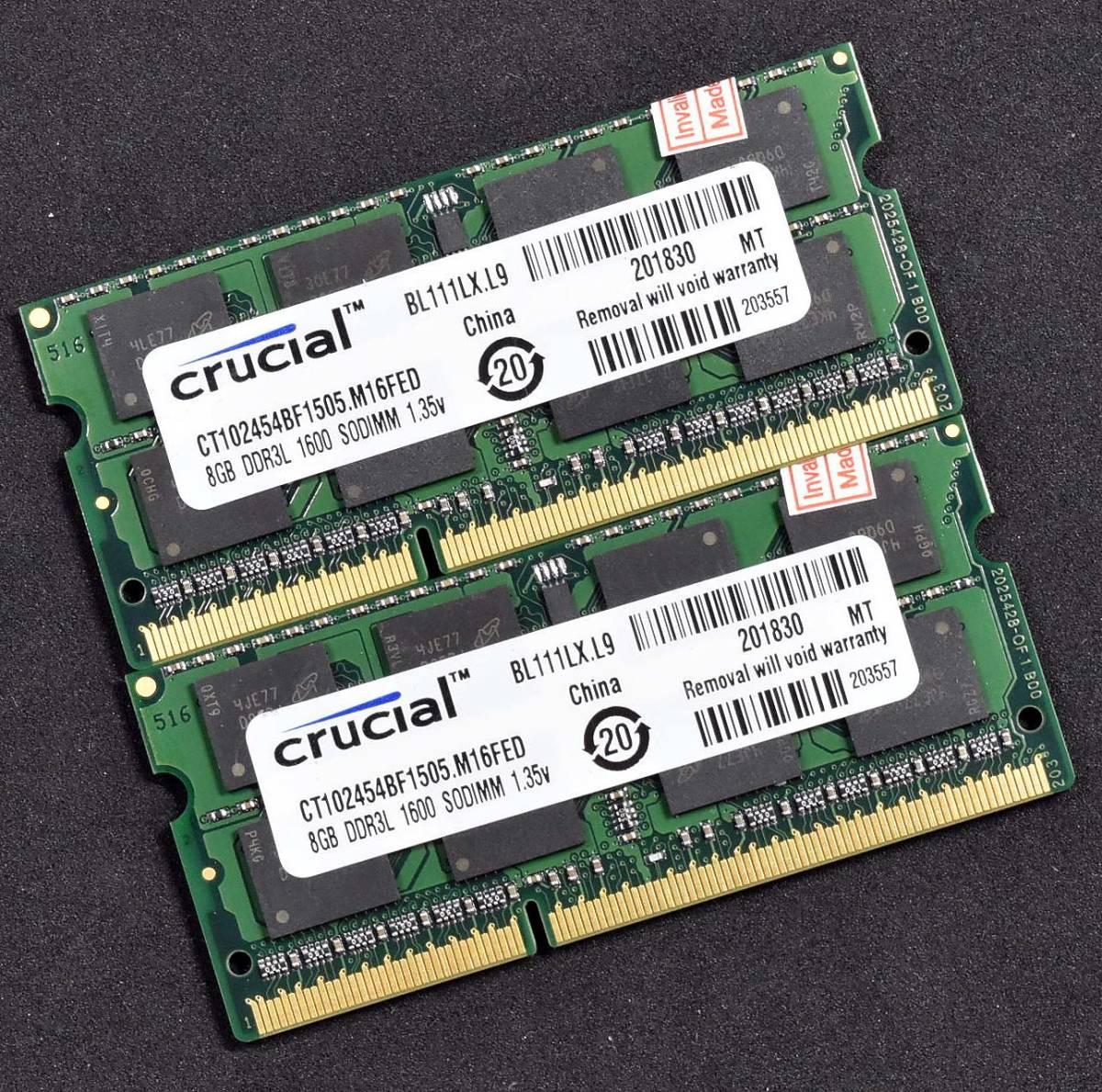 1円スタート 新品 16G (8Gx2枚セット) ノートパソコン増設メモリ PC3L-12800S (DDR3L-1600) S.O.DIMM 204pin 低電圧対応 Crucial (RA20-N18