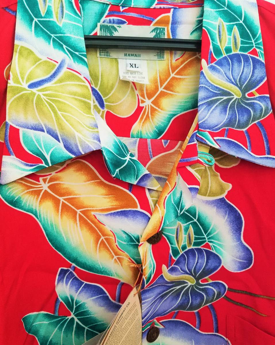 【新品/美品】カメハメハ(KAMEHAMEHA)メンズアロハシャツ XLサイズ レッド レーヨン100%  半袖 (ハワイ製)大きいサイズ_画像3